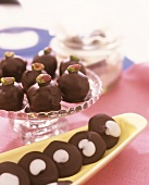 Chocolate-coated marzipan balls & chocolate peppermint cookies