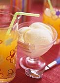 Vanilla ice cream and orangeade