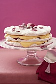 Layered meringues with candied rose petals
