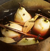 Pere cotte (Pears cooked with red wine and spices, Italy)