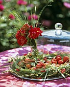 Grass wreath filled with strawberries