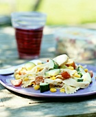 Pasta salad with chicken breast and vegetables