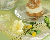 Napkin decoration with narcissus & sugar eggs, choux pastry