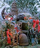 Christmas decorations in garden