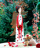 Wooden Christmas angel in open air