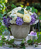 Roses, hydrangeas, ivy (Hedera)