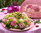 Wreath of roses, lady's mantle and white valerian