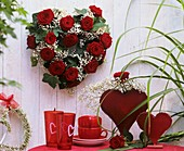 Heart-shaped arrangement & heart decoration for Valentine's Day
