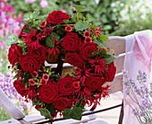 Wreath of roses, Monarda, Potentilla and ivy