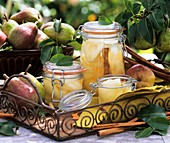 Bottled and fresh pears