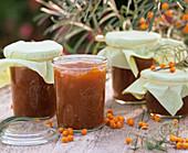 Several jars of sea buckthorn jam