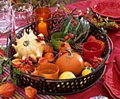 Körbchen mit Zierkürbissen, Lampionblumen und Hagebutten