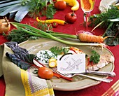 Place setting with vegetable decoration