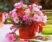 Arrangement with pink asters