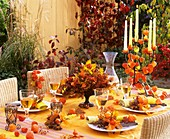 Table with autumn decorations