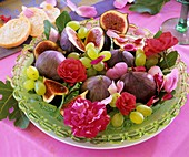 Glass plate with figs, grapes and roses