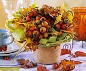 Gesteck mit Hagebutten, Ahornblättern und Chinaschilf