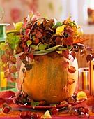 Herbstlicher Strauss aus Wilder Wein im ausgehöhlten Kürbis