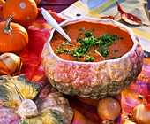 Pumpkin soup in soup tureen