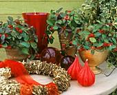 Weihnachtliche Gestaltung mit Moosbeeren