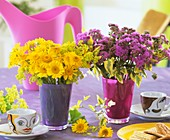 Gelbe Margeriten und Leberbalsam auf Kaffeetisch