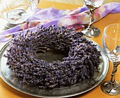 Lavender wreath on plate