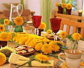 Table decoration with sunflowers