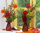 Verschiedene Blumen & Kräuter dekorativ auf einer Fensterbank