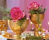 Rosen mit Koreatanne in goldenen Pokalen