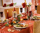 Festive table with appetisers: salmon, seafood