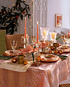 Christmas table with amaryllis and salmon