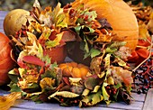 Wreath of autumn foliage: Acer, Liquidambar, Amelanchier