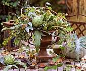 Artichokes, Hedera - ivy, Myrtus - myrtle branches with fruits