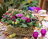 Autumnal arrangement in basket