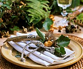 Napkin decoration with beech twig and beechmasts
