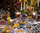 Table laid with autumnal theme, with antipasti