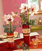 Amaryllis, Eucalyptus & vergoldete Birkenzweige in Vasen