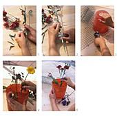Nelken-Gesteck mit Drahtgitter als Steckhilfe herstellen