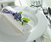 Napkin decoration with forget-me-nots
