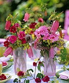 Posies of pinks, Campanula, lady's mantle and Clematis