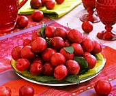 Edible cherry plums on a plate