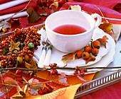 Cup of rose hip tea and rose hips
