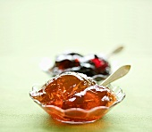 Rowan berry jelly, blackcurrant jelly behind
