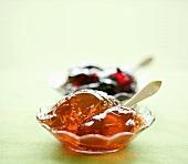 Rowan berry jelly, blackcurrant jelly behind