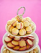 Small filled cakes and biscuits with pink sugared edges