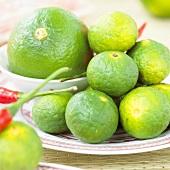 Several kafir limes