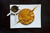 Pineapple tart with caramel and vanilla sauce