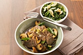 Lamb with spinach and chestnut mushrooms