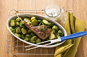 Lamb chop with Brussels sprouts and dip