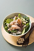Pearl barley and spinach salad with calamaretti (baby squid)